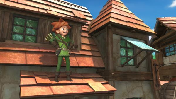 Robin Hood fühlt sich wohl, hoch oben auf den Dächern Sherwoods. | Rechte: ZDF/Method Animation/DQ Entertainment/Fabrique d'images/ZDF Enterprises/De Agostini