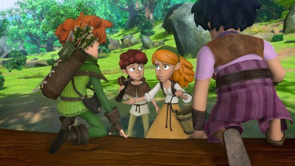 Lubin und seine Schwester bitten Robin und Little John um Hilfe. | Rechte: ZDF/Method Animation/DQ Entertainment/Fabrique d'images/ZDF Enterprises/De Agostini