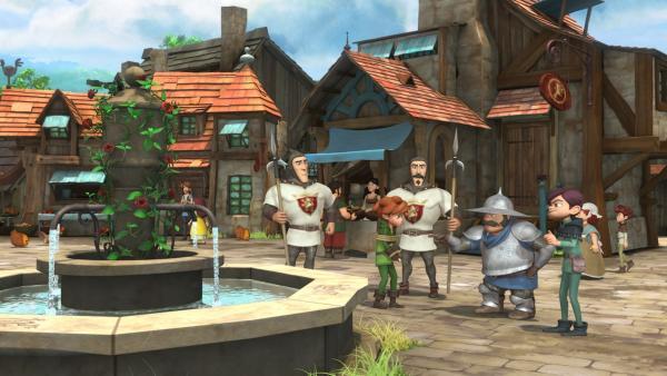 Landrin, der Kopfgeldjäger, übergibt dem Sheriff auf dem Dorfplatz den gefesselten Robin Hood. | Rechte: ZDF/Method Animation/DQ Entertainment/Fabrique d'images/ZDF Enterprises/De Agostini