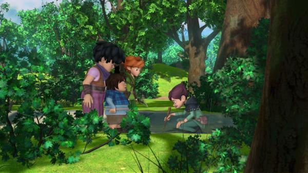 Robin und seine Freunde Little John und Tuck werden im Wald von Landrin in eine Falle gelockt. | Rechte: ZDF/Method Animation/DQ Entertainment/Fabrique d'images/ZDF Enterprises/De Agostini