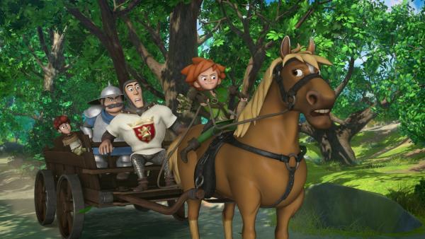 Der Sheriff hat Lubin gefangen genommen. Robin Hood glaubt an dessen Unschuld und befreit ihn. | Rechte: ZDF/Method Animation/DQ Entertainment/Fabrique d'images/ZDF Enterprises/De Agostini