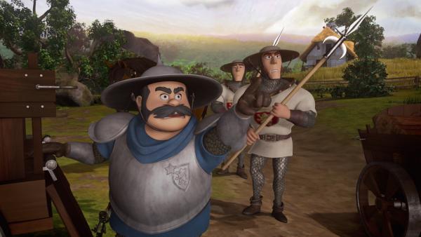 Der Sheriff und seine Männer verfolgen Robin Hood. | Rechte: ZDF/Method Animation/DQ Entertainment/Fabrique d'images/ZDF Enterprises/De Agostini