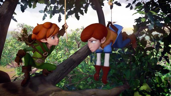 Clarence will den Dorfbewohnern helfen, bringt sich selbst dabei aber in Schwierigkeiten. Zum Glück ist Robin Hood zur Stelle. | Rechte: ZDF/Method Animation/DQ Entertainment/Fabrique d'images/ZDF Enterprises/De Agostini