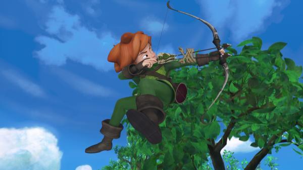 Robin Hood in Aktion. Keiner kann so gut mit Pfeil und Bogen umgehen wie er. | Rechte: ZDF/Method Animation/DQ Entertainment/Fabrique d'images/ZDF Enterprises/De Agostini