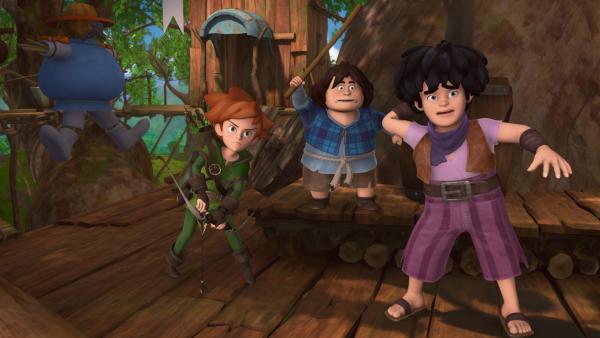 Ein Hilferuf und die drei Freunde sind sofort kampfbereit: Robin Hood, Tuck und Little John in ihrem Versteck. | Rechte: ZDF/Method Animation/DQ Entertainment/Fabrique d'images/ZDF Enterprises/De Agostini