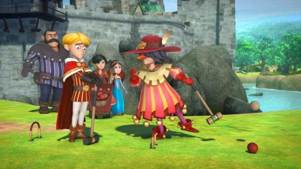Der verkleidete Robin Hood schlägt Prinz John ein Krocketspiel vor. Der Sieger entscheidet darüber, ob der neue Krocketplatz gebaut wird oder nicht. | Rechte: ZDF/Method Animation/DQ Entertainment/Fabrique d'images/ZDF Enterprises/De Agostini