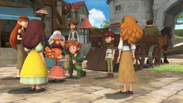 Robin Hood und seine Freunde sammeln im Dorf Spenden für Waisenkinder. Ein Mädchen schenkt ihm für die Waisenkinder sein liebstes Kuscheltier. | Rechte: ZDF/Method Animation/DQ Entertainment/Fabrique d'images/ZDF Enterprises/De Agostini