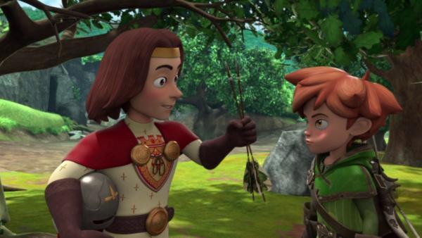 König Richard (li.) bedankt sich bei Robin Hood (re.) für seine Rettung.   Rechte: ZDF/Method Animation/DQ Entertainment