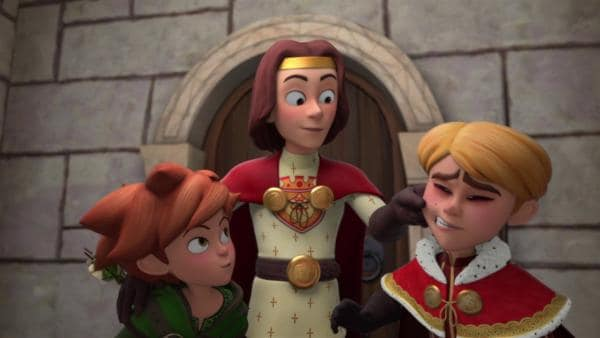 König Richard (Mi.) fällt nicht auf Prinz Johns (re.) fiesen Trick herein. | Rechte: ZDF/Method Animation/DQ Entertainment