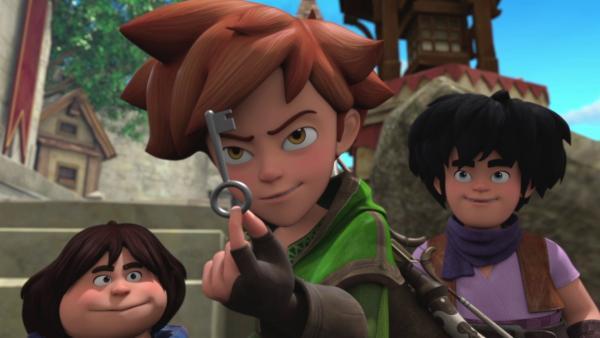 Zu welchem Schatz wird dieser Schlüssel  Robin (Mi.) wohl führen?   Rechte: ZDF/Method Animation/DQ Entertainment