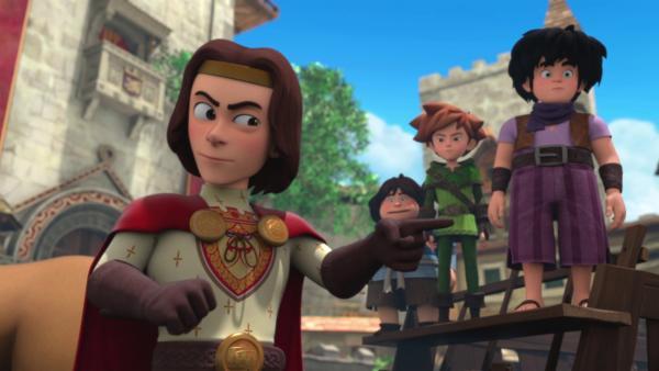 König Richard (li.) wird Robin (2.v.re.) nicht ohne Anhörung verurteilen. | Rechte: ZDF/Method Animation/DQ Entertainment