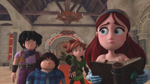 Marian (re.),  zögert dieses Mal ihren Freunden Little John (li.), Tuck (2.von links) und Robin Hood (2.v.re.) mit einem ihrer  Zaubersprüche zu helfen. | Rechte: ZDF/Method Animation/DQ Entertainment