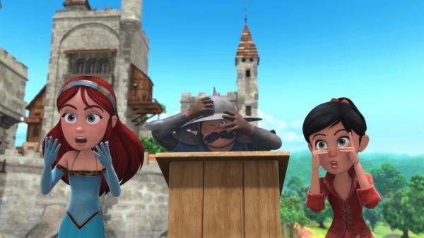 Der Geburtstagswettkampf strapaziert die Nerven von Marian (li.) und Scarlett (re.). | Rechte: ZDF/Method Animation/DQ Entertainment