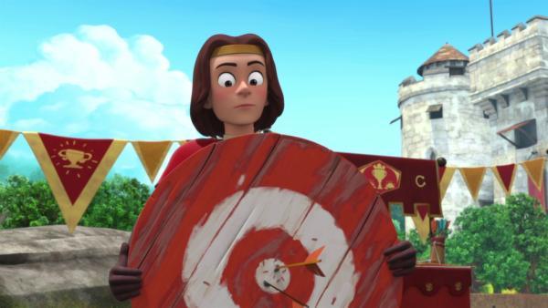 König Richard staunt nicht schlecht, was sein Pfeil so alles kann. | Rechte: ZDF/Method Animation/DQ Entertainment