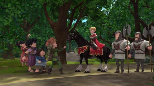 Robin (4.v.i.) lenkt Prinz John (3.v.re.) ab.    Rechte: ZDF/Method Animation/DQ Entertainment