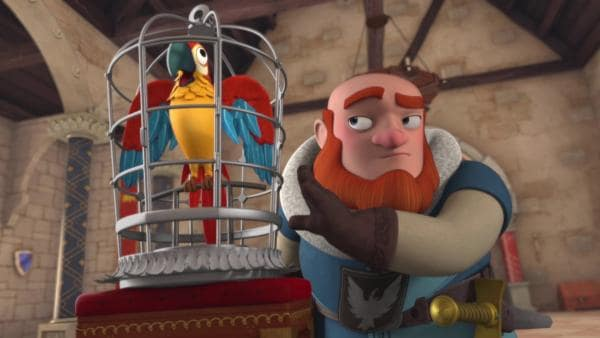 Lord Gudfred überreicht König Richard einen Papagei als Zeichen der Entschuldigung.  | Rechte: © ZDF/Method Animation/DQ Entertainment
