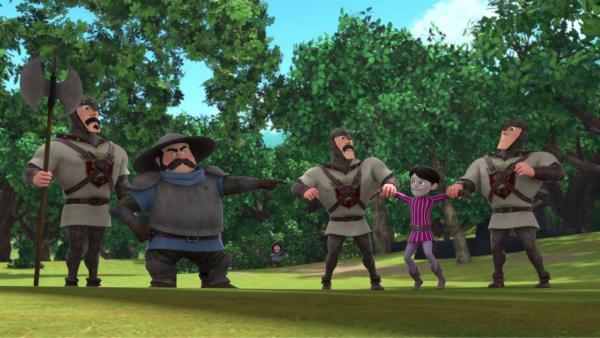 Der Mann mit der Maske (2.von rechts) wird gefasst.  | Rechte: © ZDF/Method Animation/DQ Entertainment