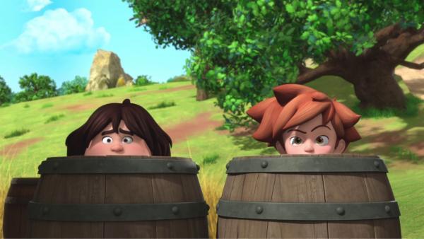 Tuck (links) und Robin (rechts) wollen die Ratten loswerden.  | Rechte: © ZDF/Method Animation/DQ Entertainment