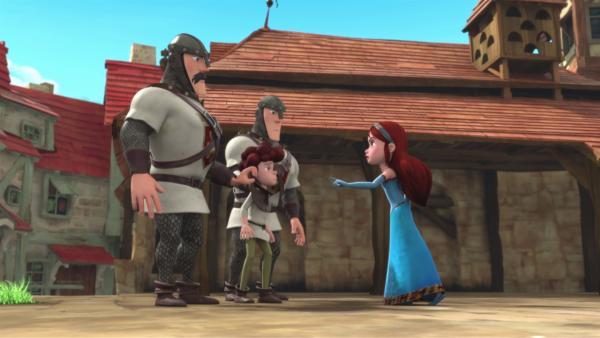 Rick (2.von links) soll auf Befehl von Prinz John in Quarantäne genommen werden. Marian (rechts) will dies verhindern.    Rechte: © ZDF/Method Animation/DQ Entertainment