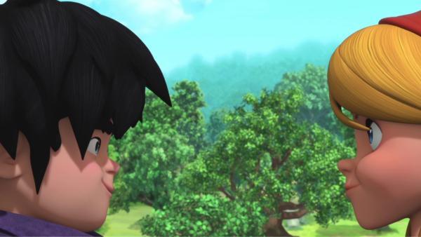 Die Käseverkäuferin (rechts) hat es Little John (links) angetan.  | Rechte: © ZDF/Method Animation/DQ Entertainment