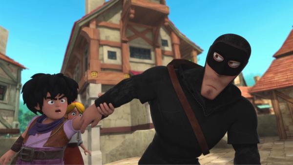 Little John (links) hat den Räuber fast erwischt. | Rechte: © ZDF/Method Animation/DQ Entertainment