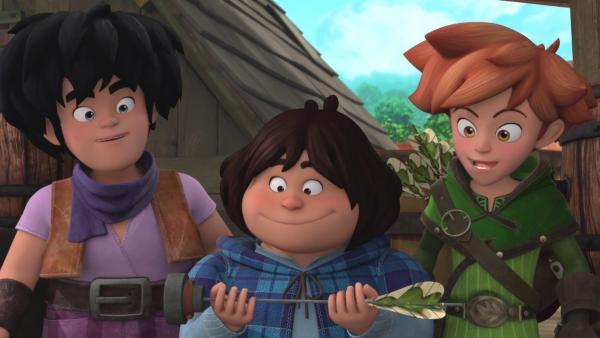 Ob Tuck (Mitte), Robin (rechts) und Little John (links) mit einem speziellen Pfeil die Geisterkutsche dingfest machen?  | Rechte: © ZDF/Method Animation/DQ Entertainment