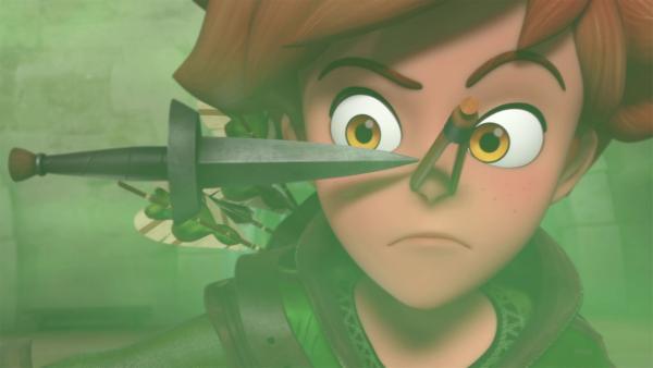 Mit einer Nasenklammer geht Robin in das vom Gestank verseuchte Schloss.   Rechte: © ZDF/Method Animation/DQ Entertainment