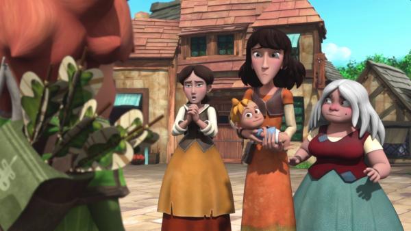 Die Dorfbewohnerinnen erzählen Robin von den seltsamen Dieben.    Rechte: © ZDF/Method Animation/DQ Entertainment