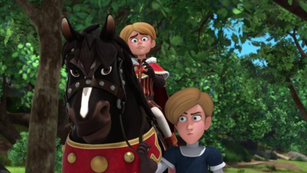 Prinz John (links) beutet den jungen Peter (rechts) aus.  | Rechte: © ZDF/Method Animation/DQ Entertainment