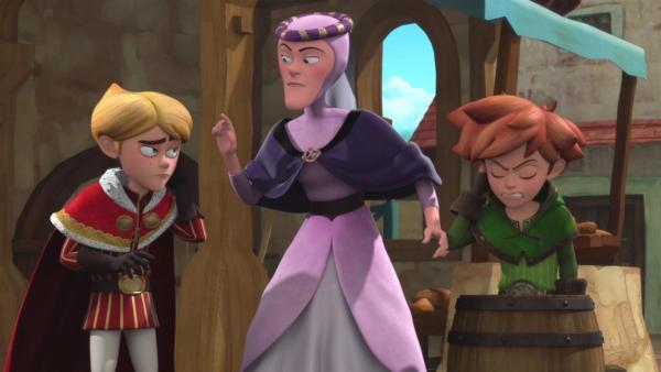 Lady Rohesia (Mitte) weist Prinz John (links) zurecht.    Rechte: © ZDF/Method Animation/DQ Entertainment