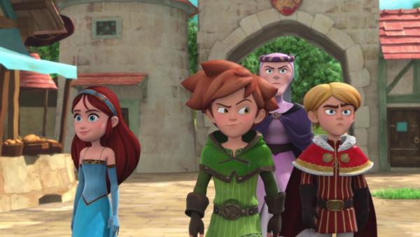 Lady Rohesia (2.von rechts) bildet Robin (3.von rechts) zum Gentleman aus.   Rechte: © ZDF/Method Animation/DQ Entertainment