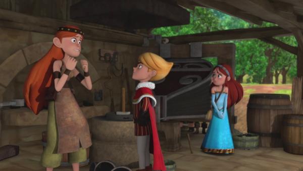 Prinz John (Mitte) fragt nach seiner neuen Krone.  | Rechte: © ZDF/Method Animation/DQ Entertainment