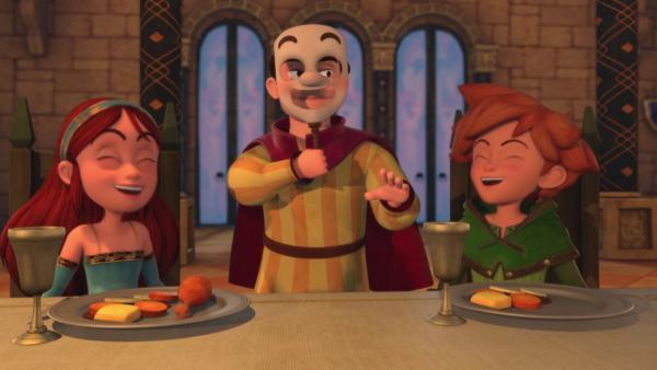 Zur Belustigung aller hat der König einen Possenreißer (Mi.) begnadigt. | Rechte: ZDF/Method Animation/DQ Entertainment/De Agostini