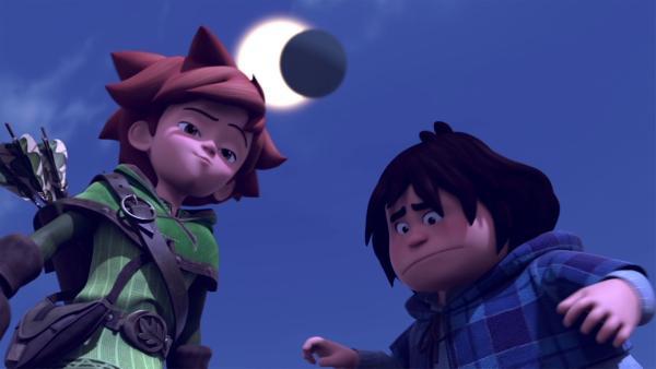 Eine Mondfinsternis erschreckt die Leute von Nottingham. | Rechte: ZDF/Method Animation/DQ Entertainment/De Agostini