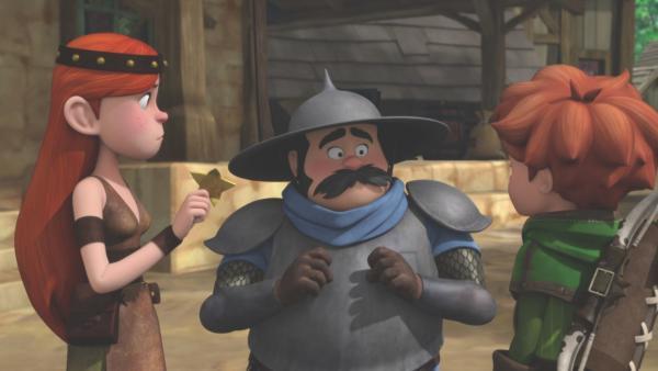 Die Schmiedin soll den verbeulten Sheriffstern wieder herrichten. | Rechte: ZDF/Method Animation/DQ Entertainment/De Agostini