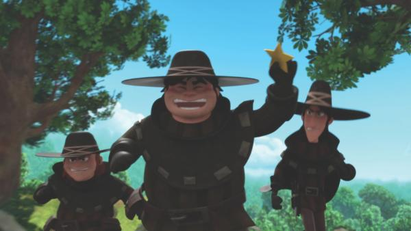 Die Räuber haben den Sheriffstern ergattert. | Rechte: ZDF/Method Animation/DQ Entertainment/De Agostini
