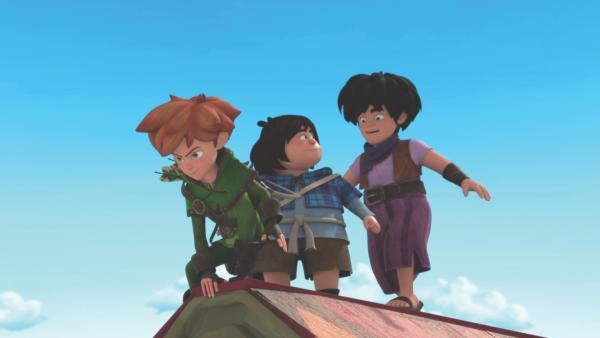 Robin (l.) und seine Gefährten sind auf der Suche nach dem Sheriffstern. | Rechte: ZDF/Method Animation/DQ Entertainment/De Agostini