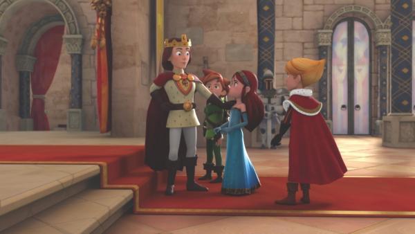 Marian (2.v.r.) soll während seiner Abwesenheit König Richard (li.) vertreten. | Rechte: ZDF/Method Animation/DQ Entertainment/De Agostini
