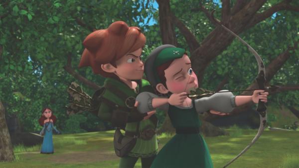 Robin übt mit Louisa Bogenschießen. Ist Scarlett etwa eifersüchtig?  | Rechte: ZDF/Method Animation/DQ Entertainment