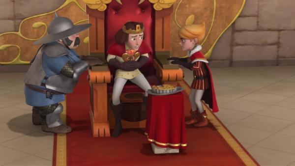 König Richard hat Bauchschmerzen von der Pilztorte.   Rechte: ZDF/Method Animation/DQ Entertainment