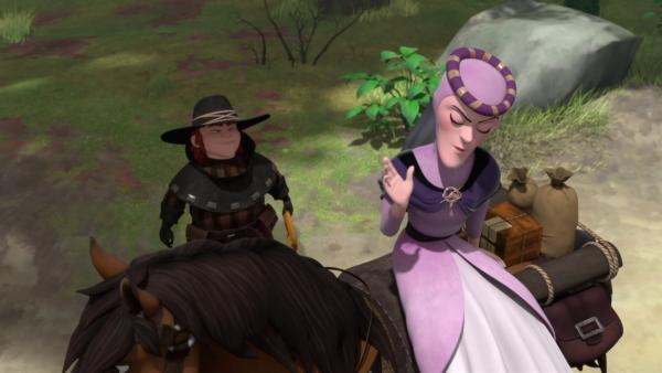 Lady Rohesia wird von den Räubern erpresst.  | Rechte: ZDF/Method Animation/DQ Entertainment