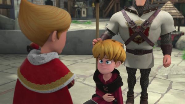 Ronald (Mitte) bewirbt sich bei Prinz John (l.) als Verwalter.  | Rechte: © ZDF/Method Animation/DQ Entertainment