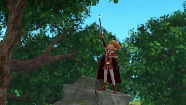 Prinz John hat es geschafft Excalibur aus dem Felsen zu ziehen. Ist er der wahre König?  | Rechte: © ZDF/Method Animation/DQ Entertainment