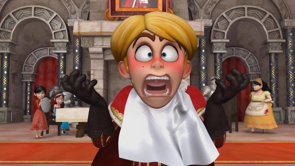 Prinz John läuft hochrot an und schreit bei seinem Essen plötzlich entsetzt laut auf. Scarlett hat ihm einen Streich gespielt und amüsiert sich mit Marian köstlich darüber. | Rechte: ZDF/Method Animation/DQ Entertainment/Fabrique d'images/ZDF Enterprises/De Agostini