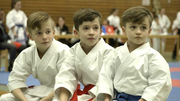 V.l.: Aidan (12), Aaric (11) und Andrew (8) sind drei echte Karate-Kids. In ihrem Verein sind sie die ungeschlagene Spitze. | Rechte: Radio Bremen/Bremedia Produktion