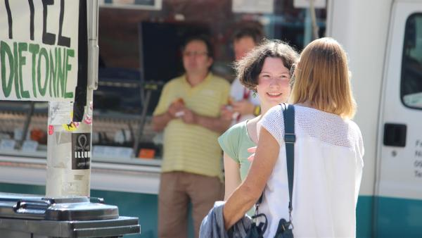 "Stopp Lebensmittelverschwendung - Ottilie wünscht sich weniger ""Gleichgültigkeit"". | Rechte: MDR/Bernadette Hauke"