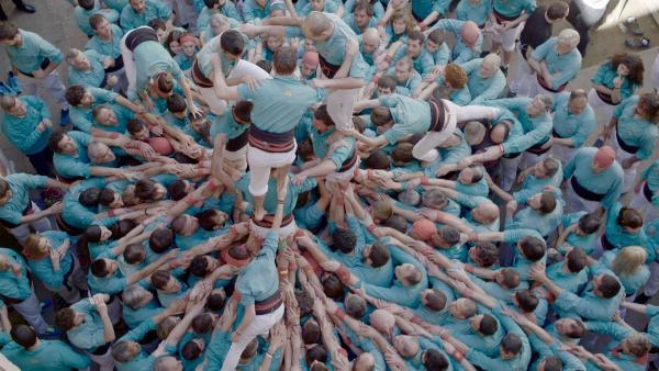 "Castellers de Vilafranca am Dia del Graller. Menschen in der ""Pinya"". Für die großen Castells benötigt man mehrere hundert Personen.   Rechte: SWR/Christian Marohl"