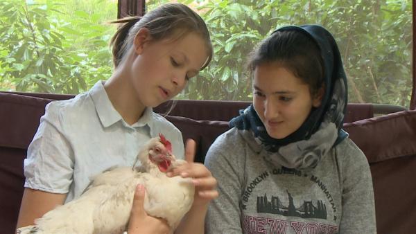 Hanna zeigt Samira ihr Lieblingshuhn. | Rechte: rbb
