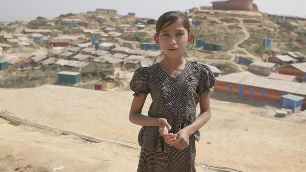 Bushra ist neun Jahre alt und wurde aus ihrer Heimat Myanmar vertrieben.  | Rechte: KiKA/hr