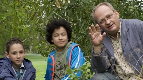 V.l.: Dominik (Yannick Rau), Raphael (Oskar McKone) und Herr Pasulke (Gert Schäfer) freuen sich über die neue Mutter vom Kücken. | Rechte: MDR/Simmet